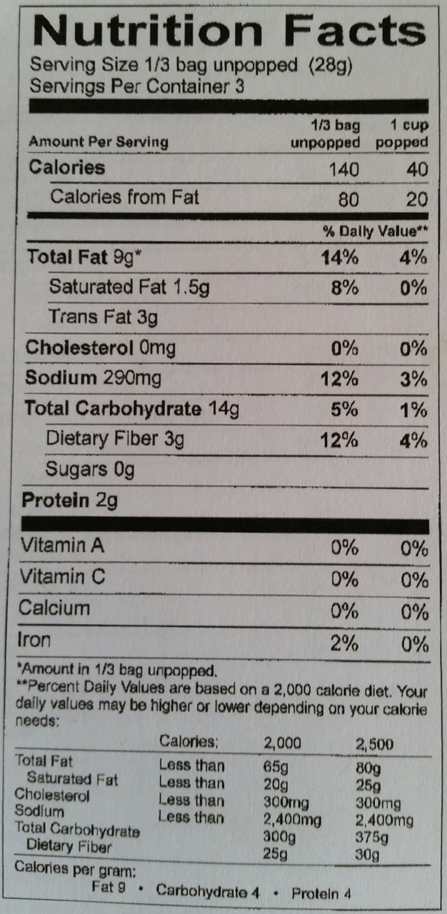 Calories In A Bag Of Gourmet Microwave Popcorn Sema Data Co Op